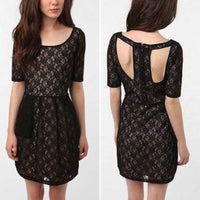Silence + Noise Intersection Black Lace Dress Small