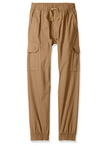 Southpole Boys Jogger Pants Washed Ripstop Fabric with Cargo Pockets, Wheat