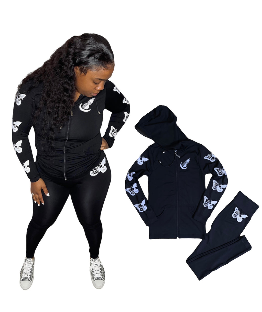 """Skull Butterfly"" Hoodie Legging Set - Black 3M"