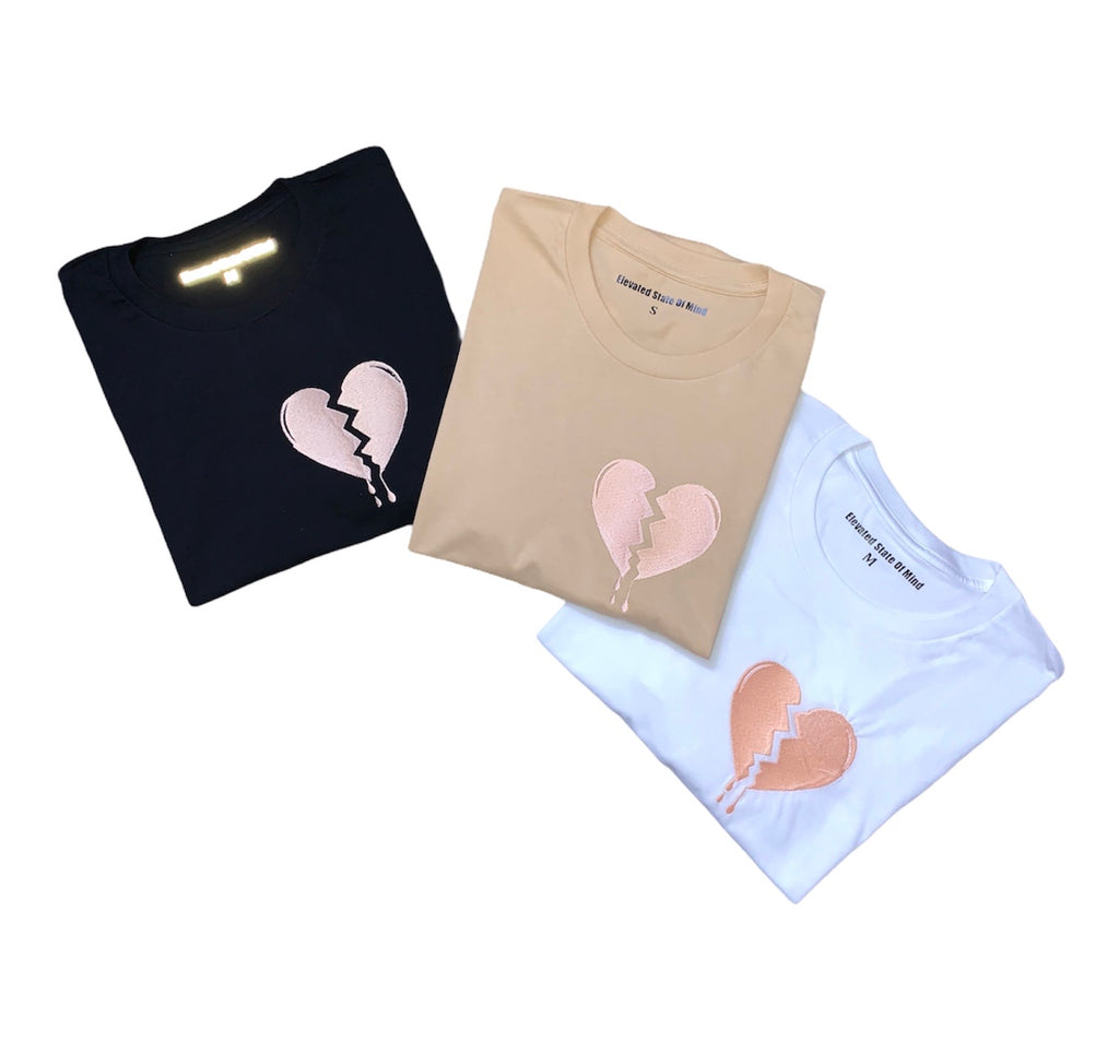 "Embroidered ""💔"" Essential Tees"