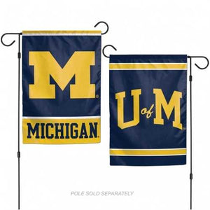Michigan Wolverines Flag 12x18 Garden Style 2 Sided