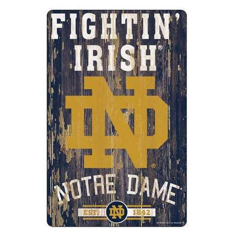 Notre Dame Fighting Irish Sign 11x17 Wood Slogan Design