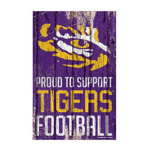 LSU Tigers Sign 11x17 Wood Proud to Support Sign