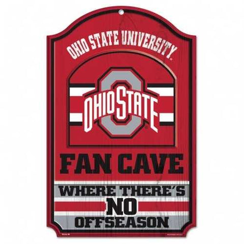 Ohio State Buckeyes Fan Cave 11x17 Wood Sign