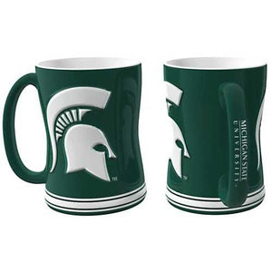 Michigan State Spartans Coffee Mug 14oz Sculpted Relief