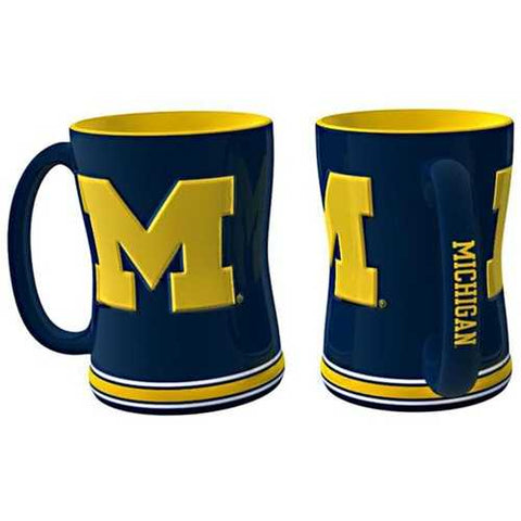 Michigan Wolverines Coffee Mug 14oz Sculpted Relief