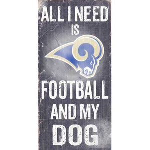 Los Angeles Rams Football and Dog 6x12 Wood Sign