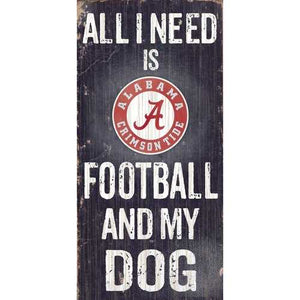Alabama Crimson Tide Football and Dog 6x12 Wood Sign