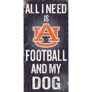 Auburn Tigers Football and Dog 6x12 Wood Sign