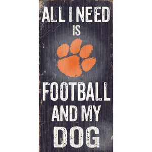 Clemson Tigers Football and Dog 6x12 Wood Sign