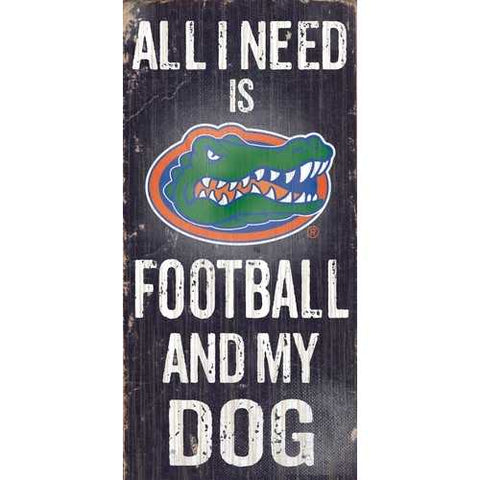 Florida Gators Football and Dog 6X12 Wood Sign