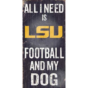 LSU Tigers Football and Dog 6x12 Wood Sign
