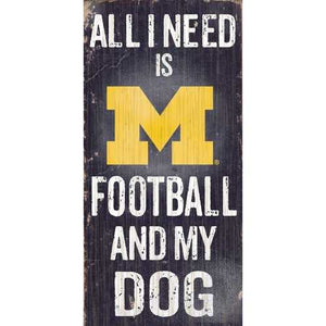 Michigan Wolverines Football and Dog 6x12 Wood Sign