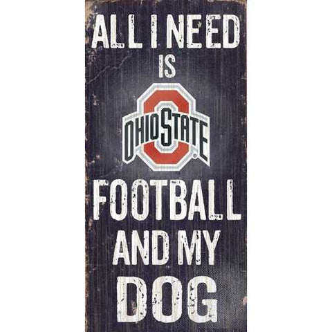 Ohio State Buckeyes Football and Dog 6x12 Wood Sign