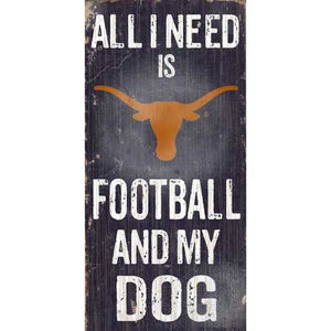 "Texas Longhorns Wood Sign - Football and Dog 6""x12"""