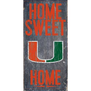 Miami Hurricanes Home Sweet Home 6x12 Wood Sign