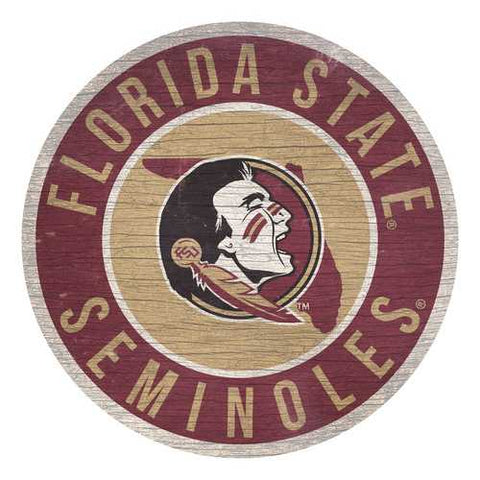 Florida State Seminoles Sign Wood 12 Inch Round State Design