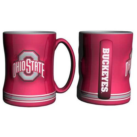 Ohio State Buckeyes Coffee Mug 14oz Sculpted Relief