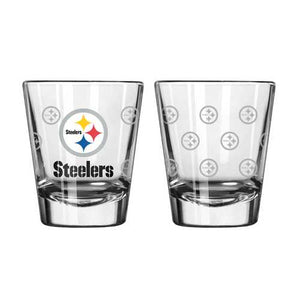 Pittsburgh Steelers Shot Glass 2 Pack Satin Etch