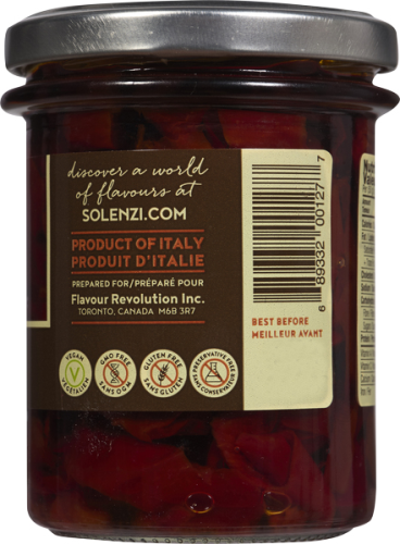 Sundried Sweet Peppers  190g - Solenzi