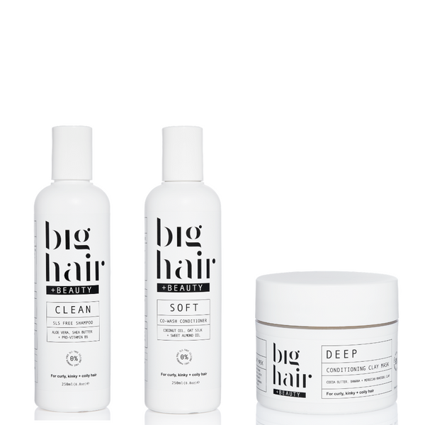 Wash day essentials bundle for curly and afro hair.