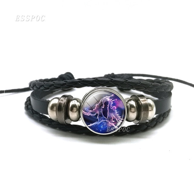 Zodiac Signs Constellations Black Button Woven Leather Bracelet