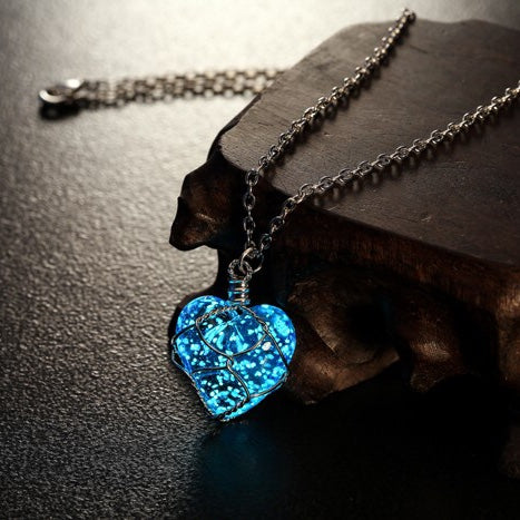 Crystal Heart Glow In The Dark Necklace