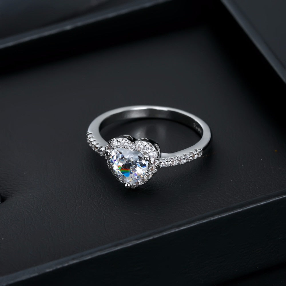 Crystal Heart Shaped Wedding Rings