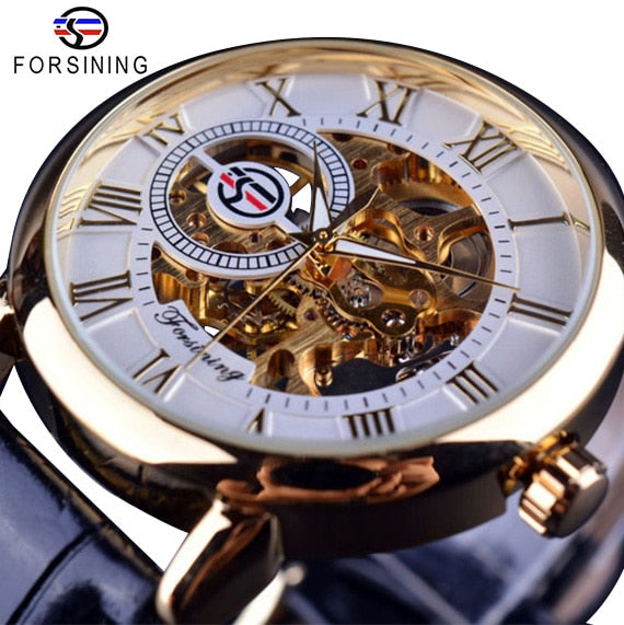 Leather Skeleton Mechanical Men Watches