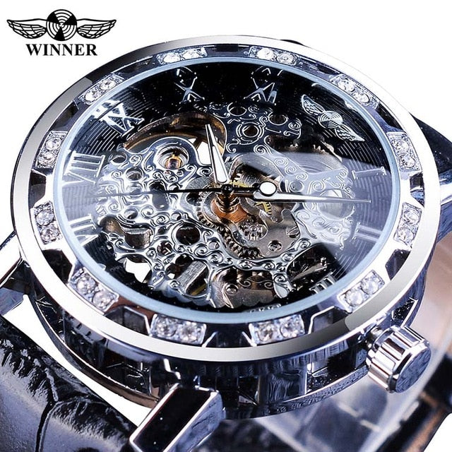 Diamond Display Mens Skeleton Watches