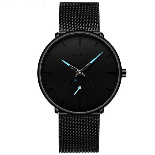 Black Steel Mesh Bracelet Men's Watch