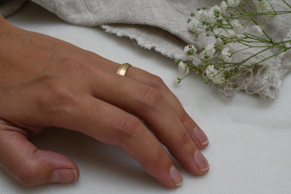Ridge recycled gold band on hand