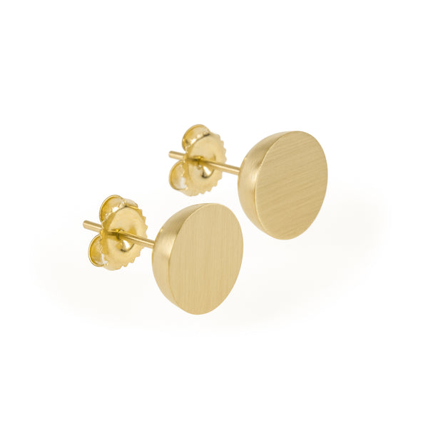 Eco-friendly gold earrings. These minimalist 11mm Hemisphere Studs are handmade in Cape Town in recycled gold.