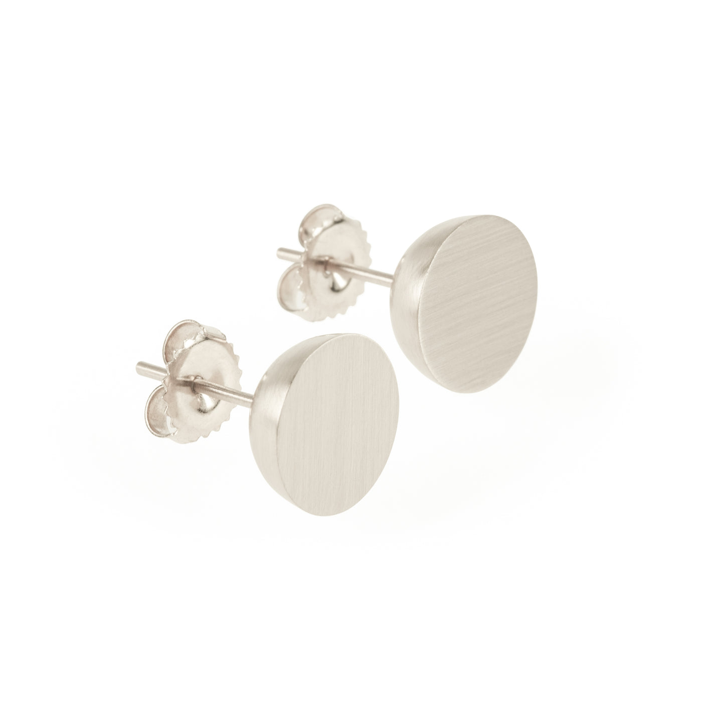 Ethical silver earrings. These minimalist 11mm Hemisphere Studs are handmade in Cape Town in recycled silver from e-waste.