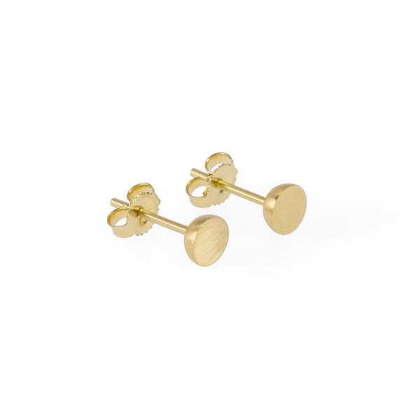 Ethical gold earrings. These minimalist 5mm Hemisphere Studs are handmade in Cape Town in recycled gold from e-waste.
