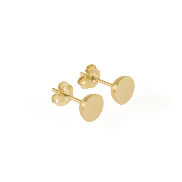 Ethical gold earrings. These minimalist 7mm Hemisphere Studs are handmade in Cape Town in recycled gold from e-waste.