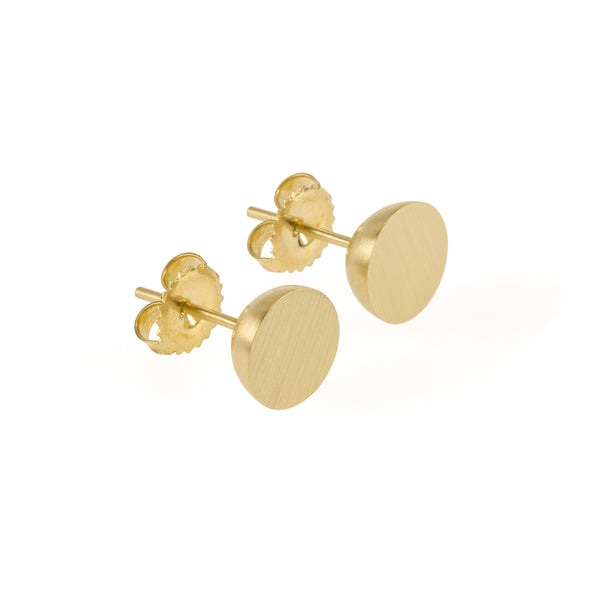 Ethical gold earrings. These minimalist 9mm Hemisphere Studs are handmade in Cape Town in recycled gold from e-waste.