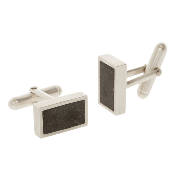 Sustainable silver cufflinks. These ethical silver Concrete Cufflinks are handmade in Cape Town in recycled silver from e-waste.