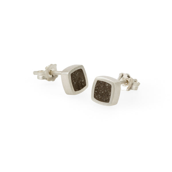 Eco-friendly silver earrings. These artisan crafted Concrete Studs are handmade in Cape Town in recycled silver from e-waste.