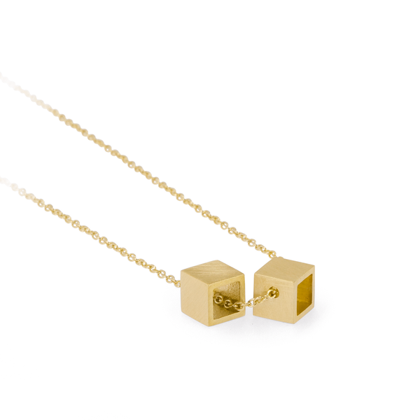 Double Cube Gold Pendant