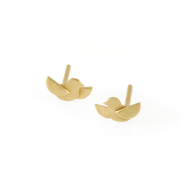 Eco-friendly gold earrings. These artisan crafted Flight Studs  are handmade in Cape Town in recycled gold from e-waste.