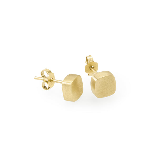 Eco-friendly gold earrings. These sustainable Form Studs are handmade in Cape Town in recycled gold from e-waste.