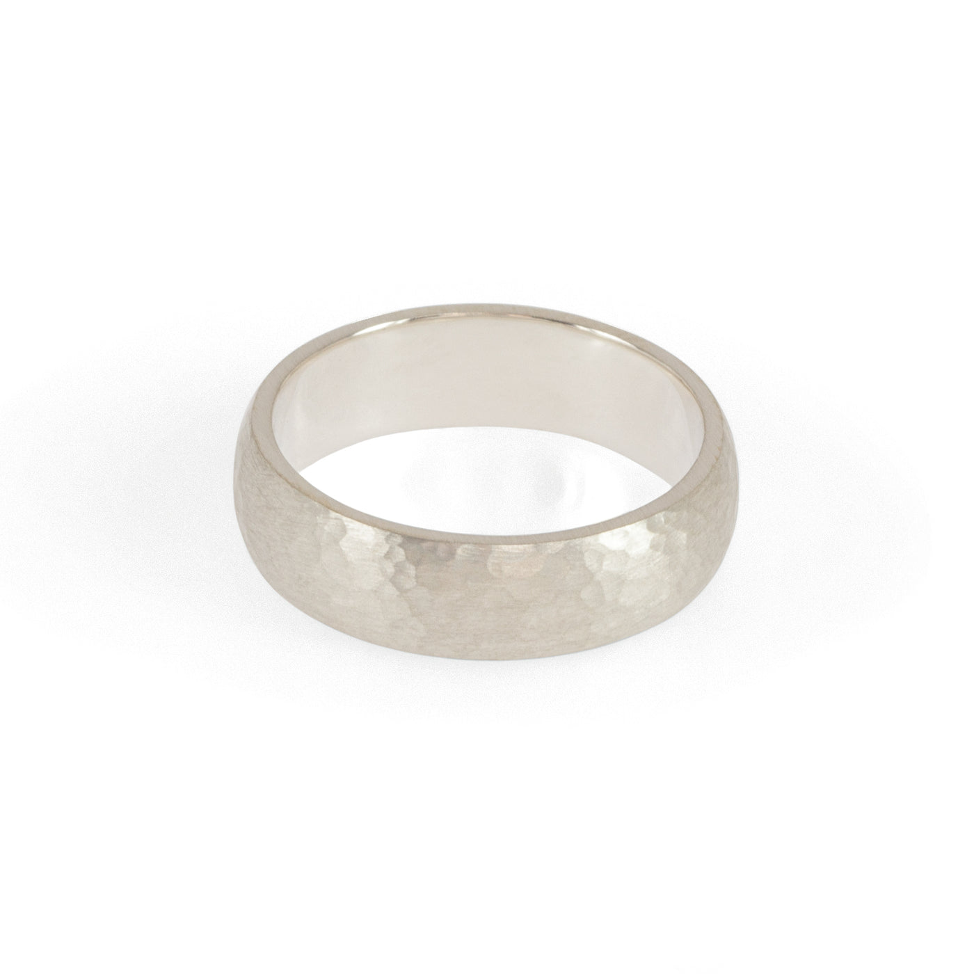 Eco-friendly silver ring. This sustainable Hammered Band is handmade in Cape Town in recycled silver from e-waste.