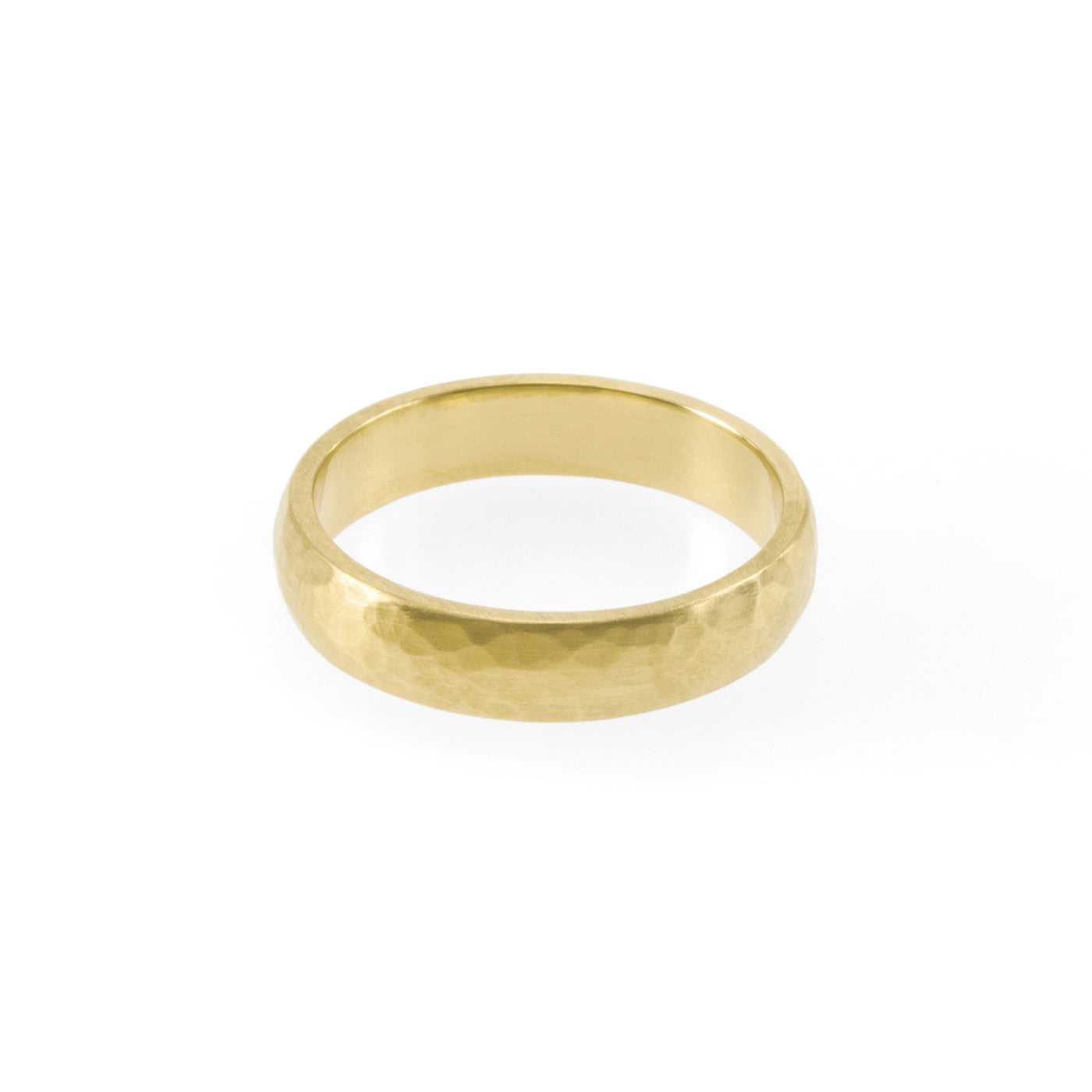 Eco-friendly gold ring. This sustainable Hammered Band is handmade in Cape Town in recycled gold from e-waste.
