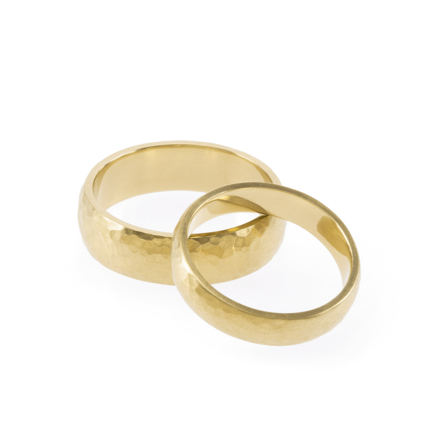 Ethical gold rings. These minimalist Hammered Wedding Bands are handmade in Cape Town in recycled gold from e-waste.