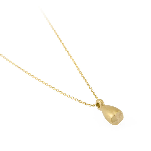 Sustainable gold necklace. This ethical Pod Pendant is handmade in Cape Town in recycled gold from e-waste.