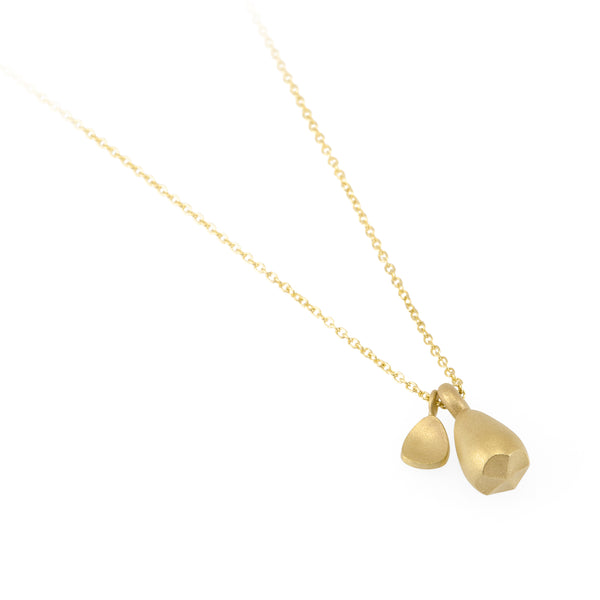 Eco-friendly gold necklace. This artisan crafted Pod Pendant with Leaf is handmade in Cape Town in recycled gold from e-waste.