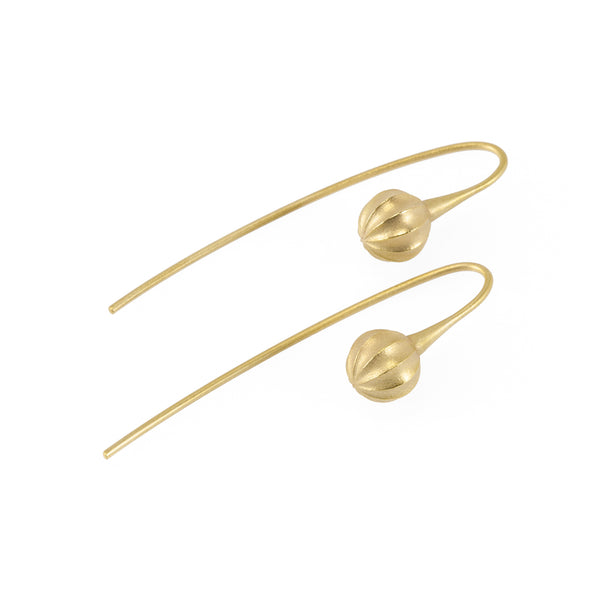 Sustainable gold earrings. These ethical Seed Earrings are handmade in Cape Town in recycled gold from e-waste.