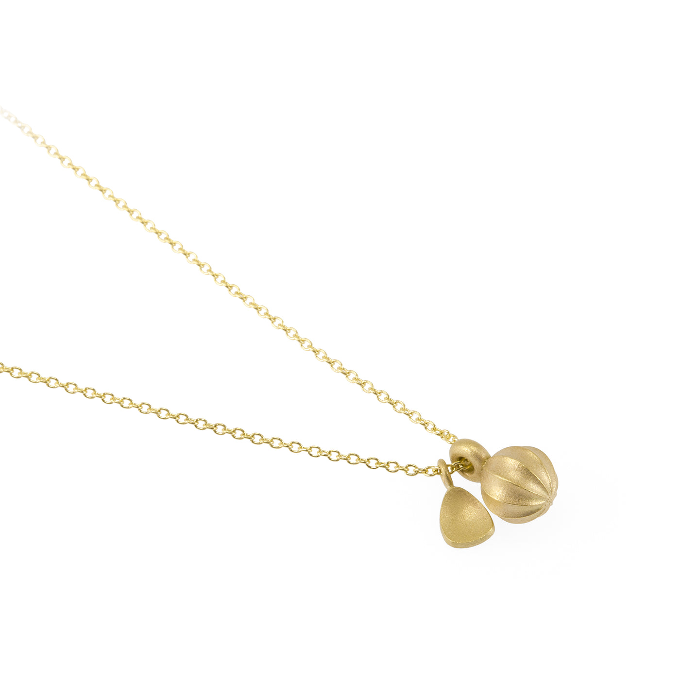 Seed Gold Pendant with Leaf