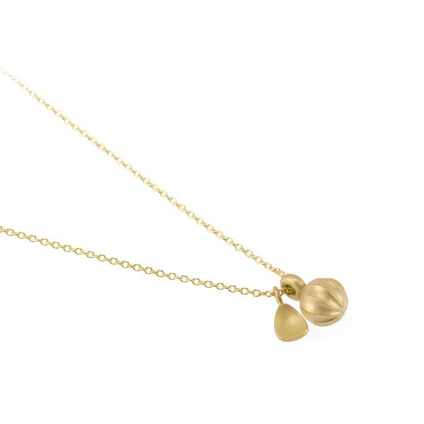 Eco-friendly gold necklace. This artisan crafted Seed Pendant with Leaf is handmade in Cape Town in recycled gold from e-waste.